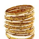 Amrita Singh Eileen White & Gold 33 Piece Bangle Set Size 8 NEW $100 BBM679