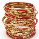 Amrita Singh Ashwarya Red 26 Piece Bangle Set Lot Size 8 NEW $150 KB350 18KGP