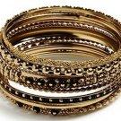 Amrita Singh Seema Black 10 Piece Bangle Set Size 8 NEW MSRP $75 PB124 18KGP
