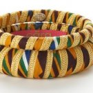 Cara Couture Yellow Ethnic Print Fabric 2 Piece Bangle Set NEW $105 Size 8