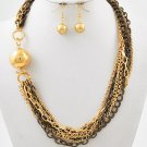 NEW Hematite & Goldtone Multi Strand Necklace & Earring Set with Ball Charm