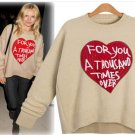"NEW Heart ""For You A Thousand Times Over"" Tan & Red Sweater OS Fits Sz S M"