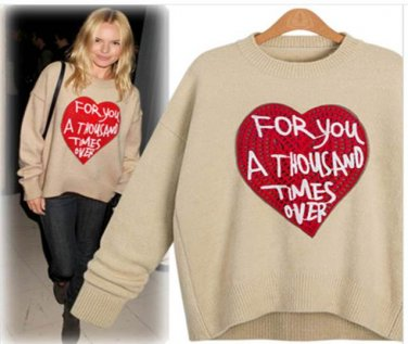 NEW Heart �For You A Thousand Times Over� Tan & Red Sweater OS Fits Sz S M