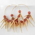 "NEW CHUNKY HUGE Spikes & Pink Resin Pave Balls 3 1/2"" Hoop Earrrings"
