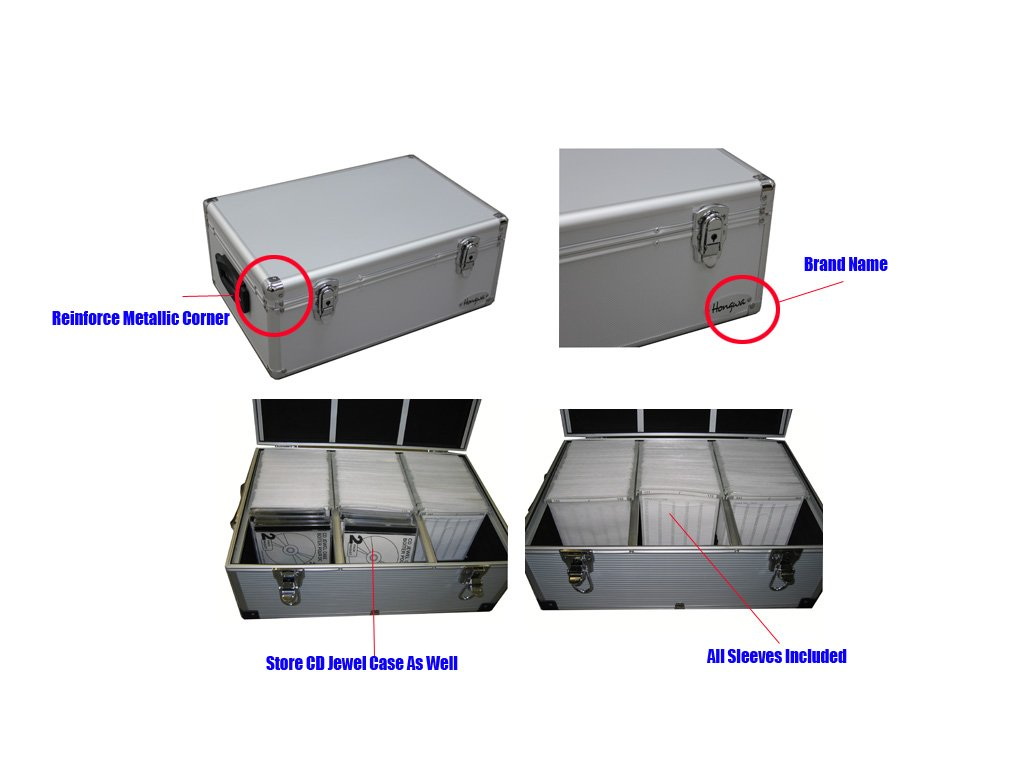 510 CD DVD Premium Aluminum Storage Carrying Case Holder Box Silver Free Shipping
