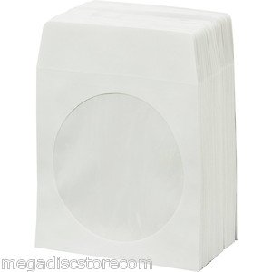 1000 White Paper CD DVD Disc Sleeves Window Flap Envelope 100g