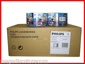 600 Pk PHILIPS 16x White Inkjet Printable Blank Recordable DVD-R Media Disk 4.7G