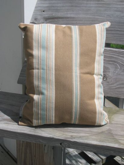 blue beige stripe pillow