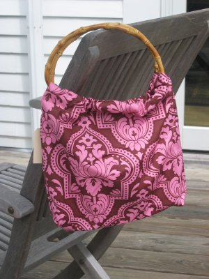 Pink n brown patterned purse
