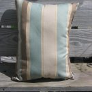 Wide striped pale blue, beige, brown pillow