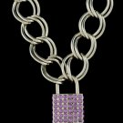 16 Inch Thich Chain Rhinestone Lock - Purple