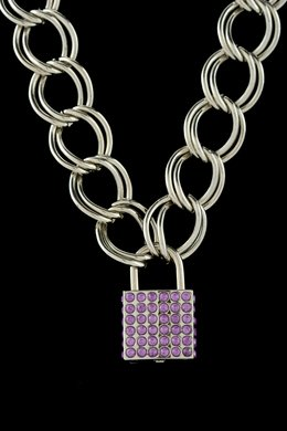 18 Inch Thich Chain Rhinestone Lock - Purple