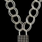 18 Inch Thich Chain Rhinestone Lock - Black