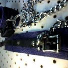 Purple And Black Unlined Leather Cuffs With 30 Inch Lead