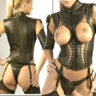 Leather Cupless Laced Teddy - 2X