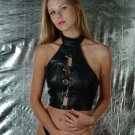 Leather Fetish Buckled Crop Top - Small