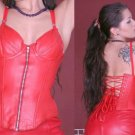 Leather Fetish Laced Zipper Waist Trainer Corset - Small