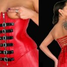 Leather Exotic Party Buckled Boned Zipper Corset - Small