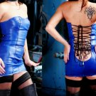 Leather Exotic Club Royal Blue Zipper Laced Dress - Small