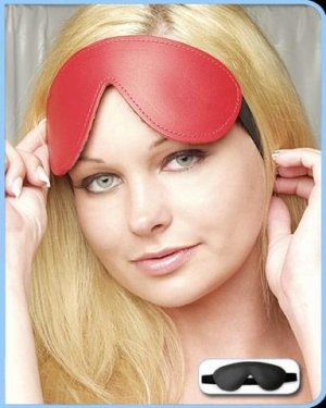 Blindfold Leather Red Padded