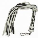 Leather Black/White Flogger