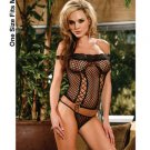 (O/S) Off The Shoulder Fence Net Cami & Thong