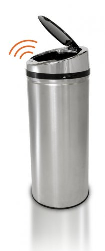 42 Liter Touchless Trashcan Round Stainless Black Top