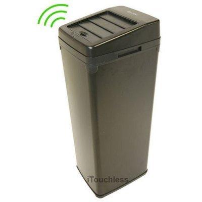 52 Liter Touchless Trashcan Square Black