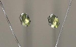 Genuine Natural Peridot and Sterling Silver Stud Earrings