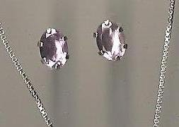 Genuine Natural Amethyst and Sterling Silver Stud Earrings