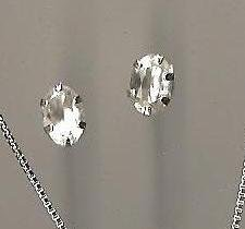 Genuine Natural White Sapphire and Sterling Silver Stud Earrings