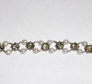 Faux Pearl and Rhinestone Choker