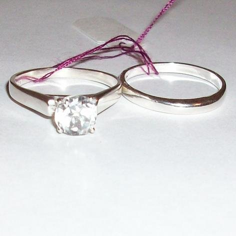 White Sapphire & Sterling Silver Dome-Style Bridal Ring Set