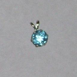14K White Gold 7mm Light Blue Sapphire Pendant