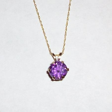 14K Yellow Gold 7mm Amethyst Pendant & Chain