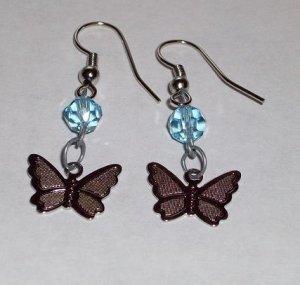 CLEARANCE: Butterfly Dangle Earrings - Aqua