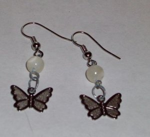 CLEARANCE: Butterfly Dangle Earrings with Genuine Mother of Pearl Beads