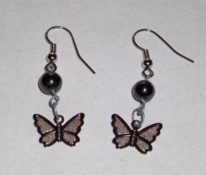CLEARANCE: Butterfly Dangle Earrings - Hematite