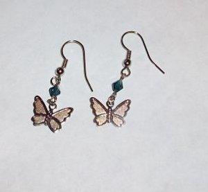 CLEARANCE: Butterfly Dangle Earrings - Sapphire