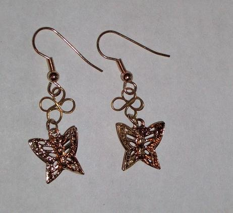 CLEARANCE: Butterfly Dangle Earrings - Gold