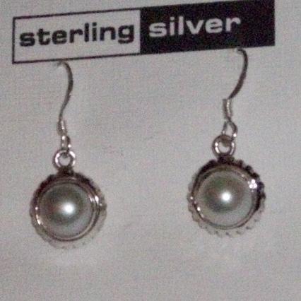 Sterling Silver Pearl Dangle Earrings