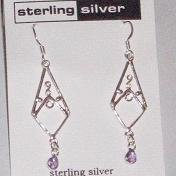 Sterling Silver & Amethyst Dangle Earrings