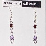 Garnet & Amethyst Sterling Silver Dangle Earrings