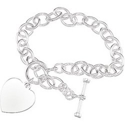 Sterling Silver Tiffany Style Bracelet Heart - 8 inches