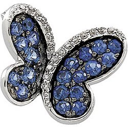 14K White Gold Black Rhodium Plated Genuine Blue Sapphire And Diamond Brooch