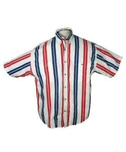 Mens Twill Vertical Stripe Short Sleeve Shirt