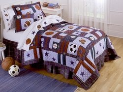 All Sports Twin Quilt with Pillow Sham