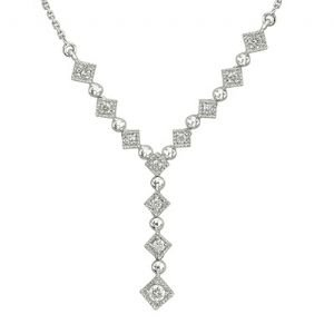 14k White Gold Bezel Set Round Diamond Necklace