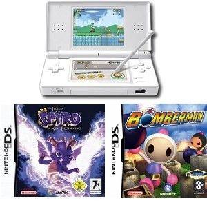 Nintendo Ds Lite (polar White) Bundle With 2 Hot Games