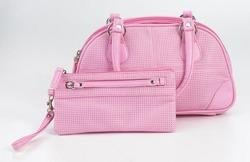 Embassy� Pink Faux Leather Purse and Wristlet Set